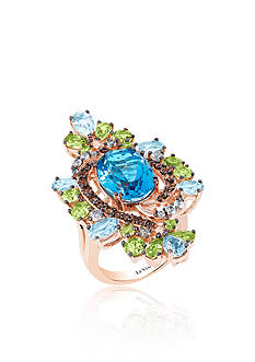 Le Vian Ocean Blue Topaz™ with Green Apple Peridot™ and Chocolate Quartz® Ring in 14K Strawberry Gold®