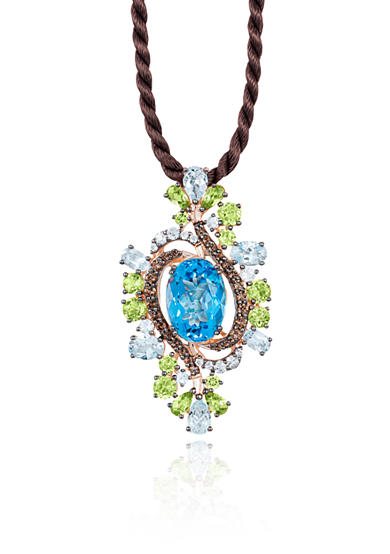 Le Vian® Ocean Blue Topaz™ with Green Apple Peridot™, and Chocolate Quartz® Pendant in 14k Strawberry Gold®