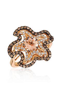 Le Vian Peach Morganite™ with Vanilla Diamonds® and Chocolate Diamonds® Ring in 14K Strawberry Gold®