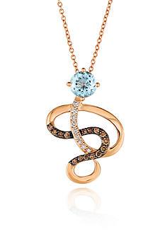 Le Vian Sea Blue Aquamarine® with Vanilla Diamonds® and Chocolate Diamonds® Pendant in 14K Strawberry Gold®