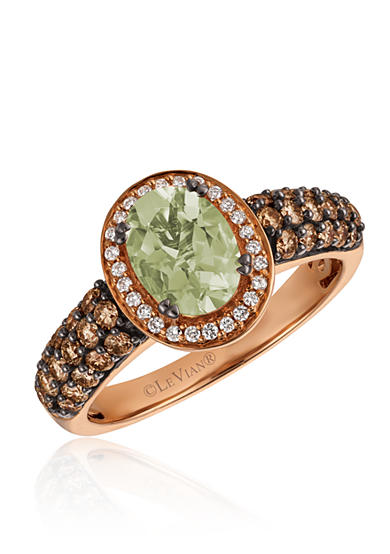 Le Vian® Mint Julep Quartz™ with Vanilla Diamonds® and Chocolate Diamonds® Ring in 14K Strawberry Gold®