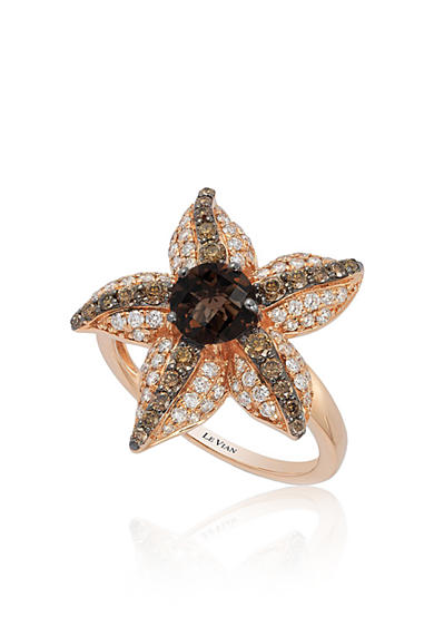 Le Vian® Chocolate Quartz®, with Vanilla Diamonds®, and Chocolate Diamonds® Starfish Ring in 14k Strawberry Gold®