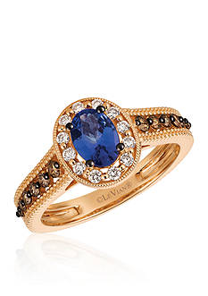 Le Vian Blueberry Tanzanite® with Vanilla Diamonds®, and Chocolate Diamonds® Ring in 14k Strawberry Gold®