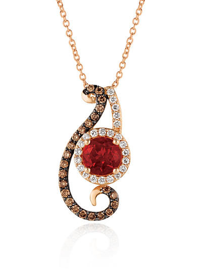 Le Vian® Neon Tangerine Fire Opal® with Vanilla Diamonds® and Chocolate Diamonds® Pendant in 14K Strawberry Gold®