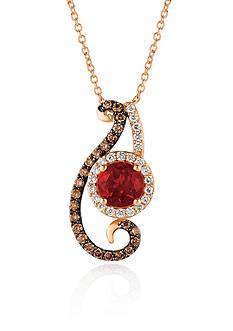 Le Vian Neon Tangerine Fire Opal® with Vanilla Diamonds® and Chocolate Diamonds® Pendant in 14K Strawberry Gold&#