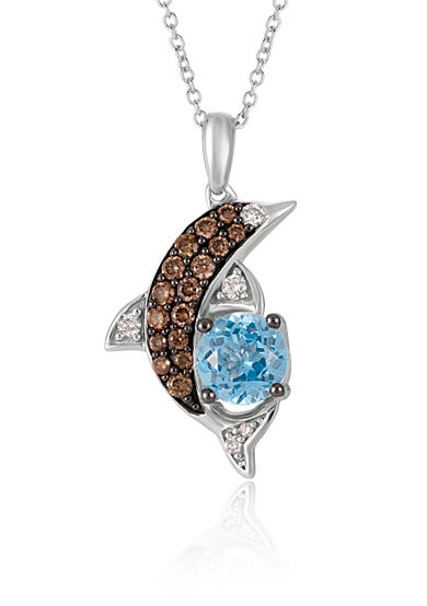 Le Vian® Ocean Blue Topaz™ with Vanilla Diamonds® and Chocolate Diamonds® Pendant in 14K Vanilla Gold®