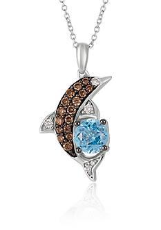 Le Vian Ocean Blue Topaz™ with Vanilla Diamonds® and Chocolate Diamonds® Pendant in 14K Vanilla Gold®