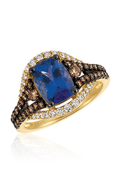 Le Vian® Blueberry Tanzanite™, with Vanilla Diamonds® and Chocolate Diamonds® Ring in 14K Honey Gold™