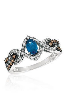 Le Vian Blueberry Sapphire™ with Vanilla Diamonds®, and Chocolate Diamonds® Ring in 14k Vanilla Gold