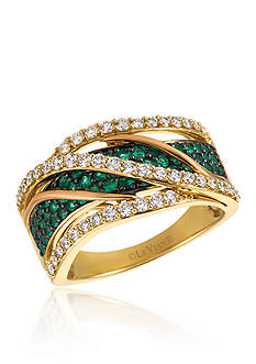 Le Vian Costa Smeralda Emeralds™ with Vanilla Diamonds® Ring in 14K Strawberry Gold® and 14k Honey Gold™