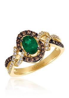 Le Vian Costa Smeralda Emeralds™ with Vanilla Diamonds®, and Chocolate Diamonds® Ring in 14k Honey Gold™