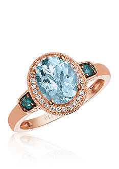 Le Vian Sea Blue Aquamarine® with Vanilla Diamonds® and Blueberry Diamonds® Ring in 14K Strawberry Gold®
