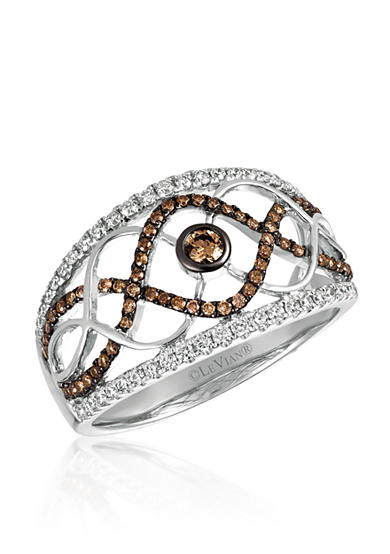 Le Vian® 0.26 ct. t.w. Vanilla Diamonds® and 0.27 ct. t.w. Chocolate Diamonds® Ring in 14k Vanilla Gold®