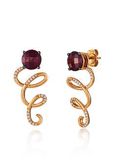 Le Vian Raspberry Rhodolite and Vanilla Diamonds Earrings in 14K Strawberry Gold
