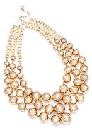 R.J. Graziano Three Row Gold-Tone Necklace