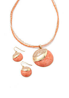 Kim Rogers Gold-Tone Coral Pendant Necklace and Earring Boxed Set