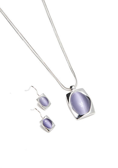 Kim Rogers® Silver-Tone Purple Rectangle Pendant Necklace and Earrings Boxed Set