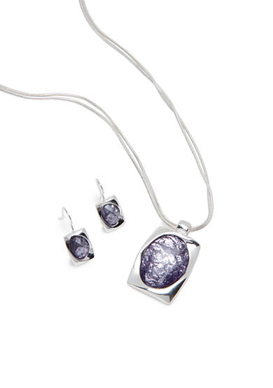 Kim Rogers® Silver-Tone Faceted Purple Pendant Necklace and Earring Boxed Set