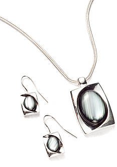 Kim Rogers Rectangle with Oval Cat's Eye Pendant Necklace and Earrings Set