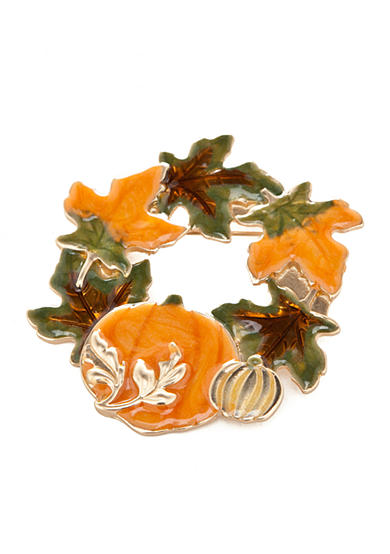 Kim Rogers® Gold-Tone Harvest Wreath Leaf Pin