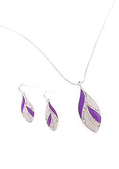 Kim Rogers Silver-Tone Purple Teardrop Necklace and Earring Boxed Set