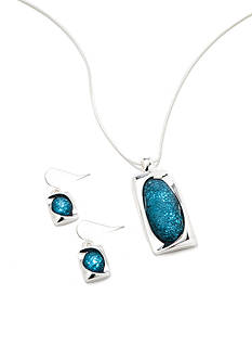 Kim Rogers Silver-Tone Blue Rectangle Pendant and Earrings Boxed Set