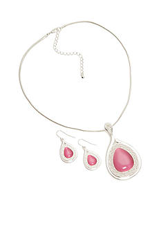 Kim Rogers Silver-Tone Pink Teardrop Pendant Necklace and Teardrop Earring Boxed Set