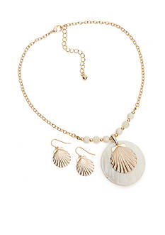 Kim Rogers Gold-Tone Seashell Pendant and Drop Earring Boxed Set