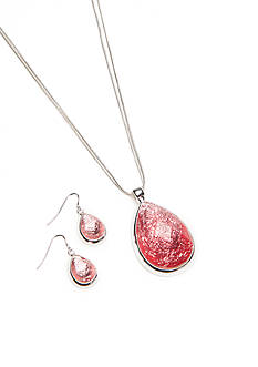 Kim Rogers Silver-Tone Foil Pink Teardrop Necklace and Drop Earring Set