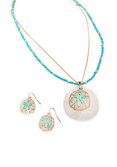 Kim Rogers Gold-Tone Sand Dollar Necklace and Earrings Boxed Set