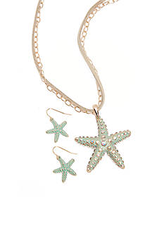 Kim Rogers Gold-Tone Turquoise Starfish Necklace and Drop Earring Set