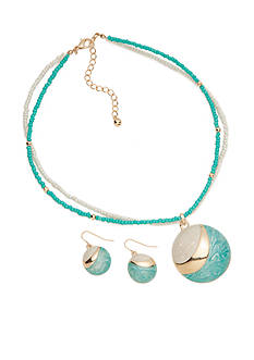 Kim Rogers Gold-Tone Teal Pendant Necklace and Drop Earring Boxed Set