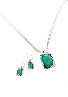 Kim Rogers Silver-Tone Teal Pendant Necklace and Earrings Boxed Set