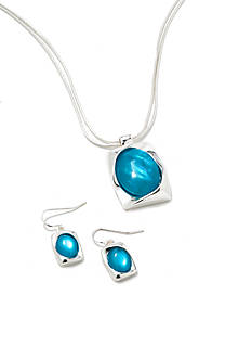 Kim Rogers Silver-Tone Blue Rectangle Pendant Necklace and Earring Boxed Set