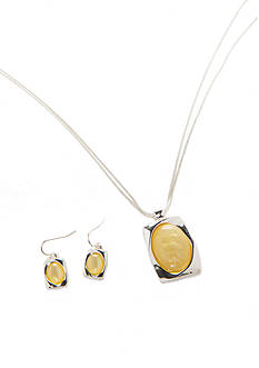 Kim Rogers Silver-Tone Yellow Pendant Necklace and Earrings Boxed Set