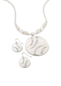 Kim Rogers Silver-Tone White Pendant Necklace and Earring Boxed Set