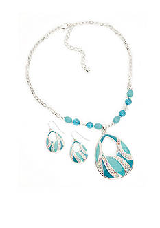 Kim Rogers Silver-Tone Blue Teardrop Necklace and Earring Boxed Set