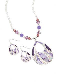 Kim Rogers Silver-Tone Open Teardrop Pendant Necklace and Drop Earring Set