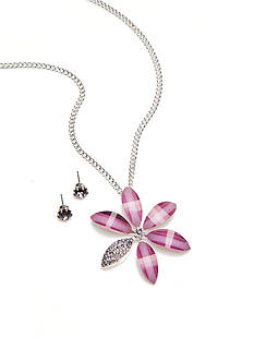 Kim Rogers Silver-Tone Faceted Purple Flower Necklace and Stud Earring Set