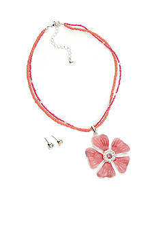 Kim Rogers Silver-Tone Pink Flower Necklace and Earring Boxed Set