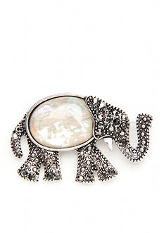 Kim Rogers Silver-Tone Bedazzled Elephant Pin