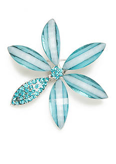 Kim Rogers Silver-Tone Blue Flower Pin