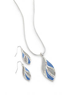 Kim Rogers Silver-Tone Periwinkle Teardrop Necklace and Earring Boxed Set