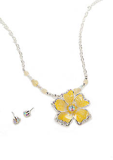 Kim Rogers Silver-Tone Flower Necklace and Earring Boxed Set
