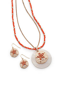 Kim Rogers® Gold-Tone Sand Dollar Pendant Necklace and Earring Boxed Set
