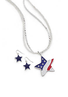 Kim Rogers Silver-Tone American Star Necklace and Earrings Boxed Set