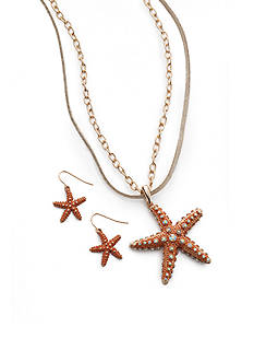 Kim Rogers Gold-Tone Starfish Necklace and Earrings Boxed Set
