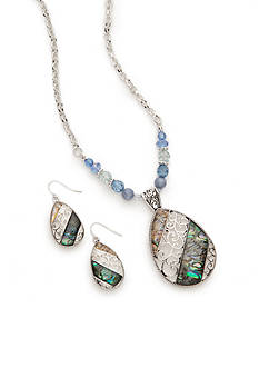 Kim Rogers Silver-Tone Blue Mother of Pearl Filigree Necklace and Earring Boxed Set