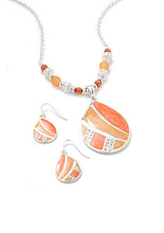 Kim Rogers Silver-Tone Orange Teardrop Pendant Necklace and Earrings Boxed Set