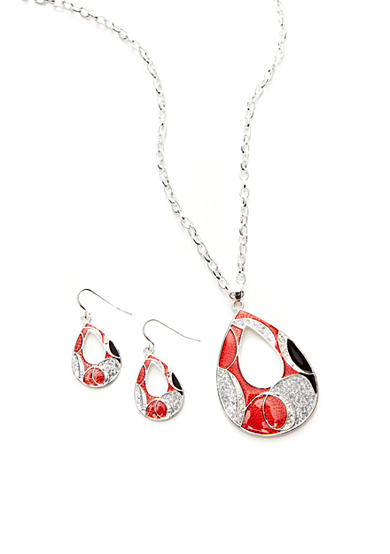 Kim Rogers® Red Open Teardrop Pendant Necklace and Earrings Set